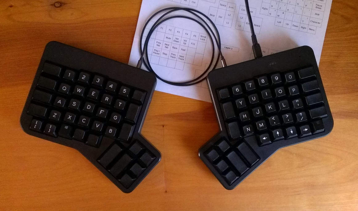 Here's the keyboard I use, an ErgoDox with a custom keymap